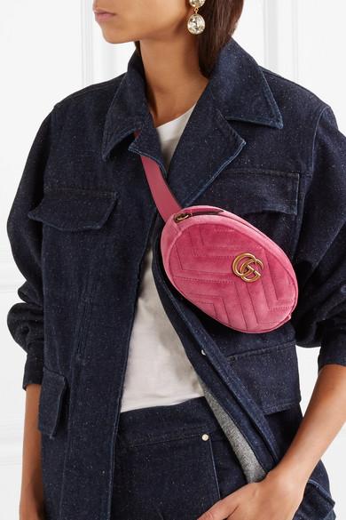 9531577b03 GG Marmont matelassé velvet and leather belt bag