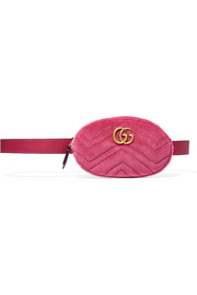 GG Marmont matelassé velvet and leather belt bag