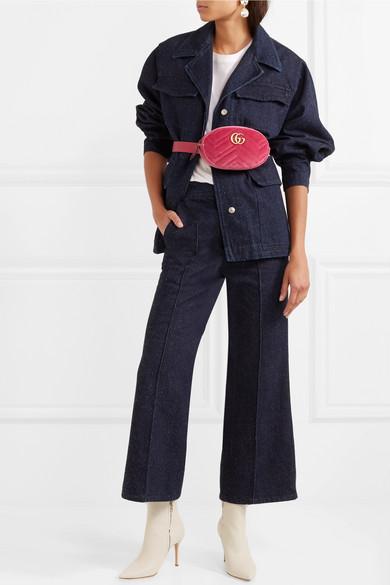 73245234278 GG Marmont matelassé velvet and leather belt bag