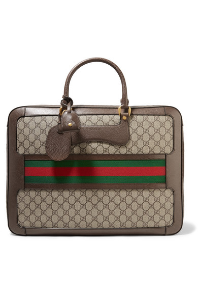 Gucci - Echo Small Leather-trimmed Coated-canvas Suitcase - Brown