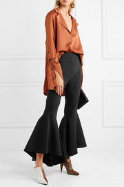Sinuous crepe flared pants