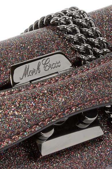 Mark Cross Grace mini Schultertasche aus Leder mit Glitter-Finish