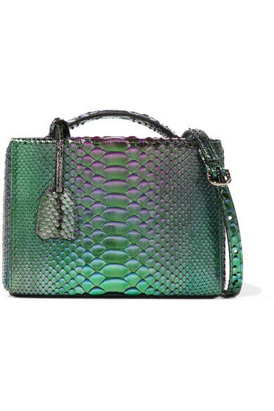 Mark Cross - Grace Small Metallic Python Shoulder Bag - Green