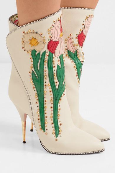 Rabatt Ausgezeichnet Gucci Fosca verzierte Ankle Boots aus strukturiertem Leder mit Applikationen Brandneue Unisex Online Günstig Kaufen 100% Garantiert Beliebt Günstiger Preis Preiswerte Neue Ankunft wI0Z3FYx