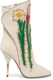 Fosca appliquéd embellished textured-leather ankle boots