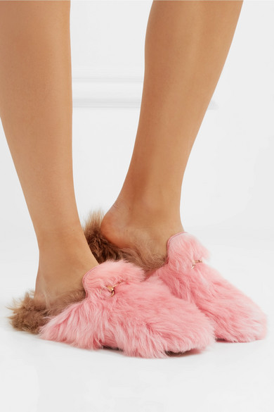 87d1f16e7cd Princetown horsebit-detailed two-tone shearling slippers
