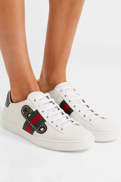 38f7afe2085 Gucci | Ace watersnake-trimmed embellished leather sneakers | NET-A ...