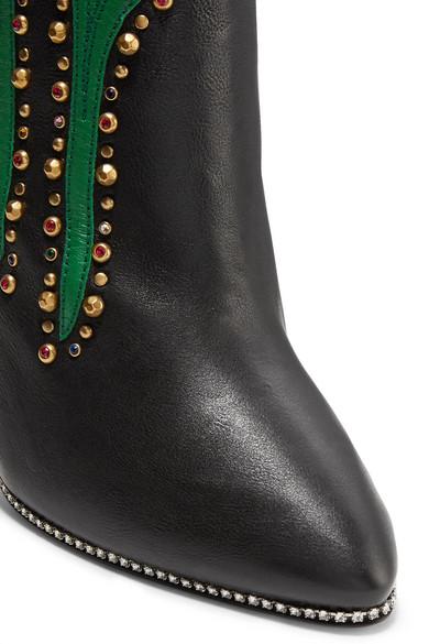 Gucci Fosca verzierte Ankle Boots aus strukturiertem Leder mit Applikationen Billig Verkauf Nicekicks k4XBk6OS