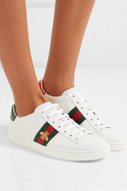 Ace watersnake-trimmed embroidered leather sneakers