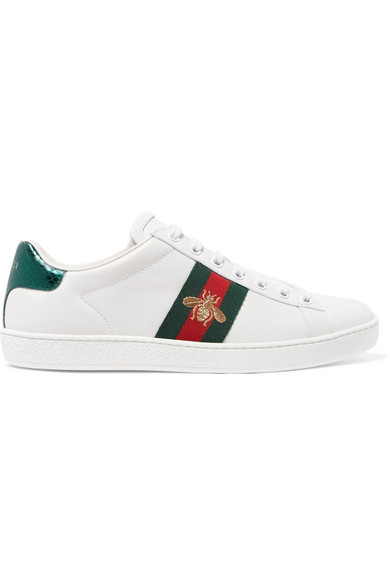 Ace Watersnake-trimmed Leather Sneakers Gucci xOpMh
