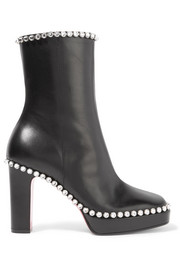 Olympia crystal-embellished leather platform ankle boots