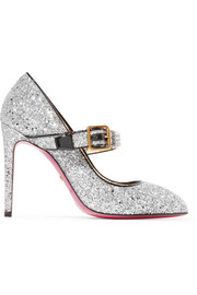Sylvie crystal-embellished glittered leather pumps