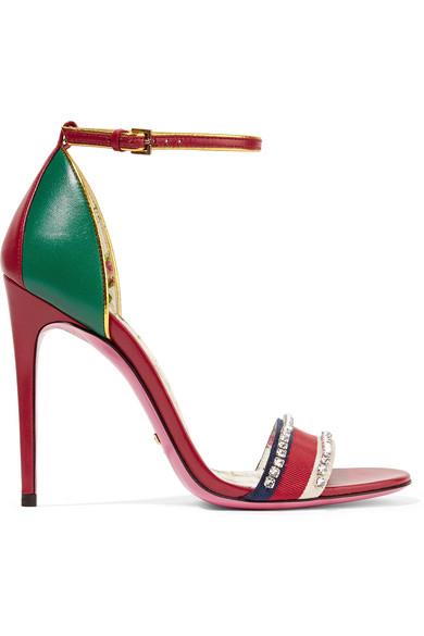 5f4ca7457 Gucci | Crystal-embellished paneled leather sandals | NET-A-PORTER.COM