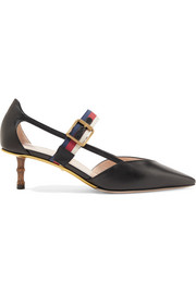 Gucci Bamboo-trimmed leather pumps