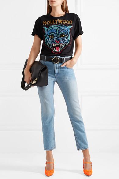 Auslass Empfehlen Gucci Virginia Mary-Jane-Pumps aus schnurgebundener Spitze mit Kristallverzierungen Erstaunlicher Preis Günstiger Preis irxSJVQ