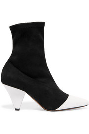 Beaks suede and patent-leather ankle boots