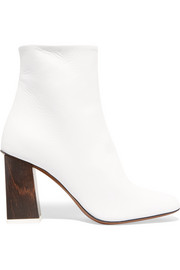 Bamboo leather ankle boots