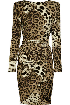 Roberto Cavalli Leopard-print silk-georgette dress