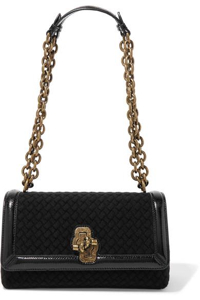 Olimpia Knot Watersnake-trimmed Intrecciato Wool Shoulder Bag - Black Bottega Veneta 0esu0TmbG