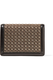 Montebello leather-trimmed metallic jacquard clutch