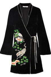 Iris embroidered velvet wrap dress