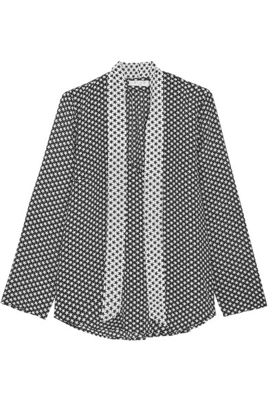 RIXO London - Pussy-bow Star-print Silk Crepe De Chine Blouse - Black
