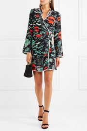 Iris printed crepe wrap dress