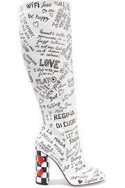 Dolce & Gabbana Printed leather knee boots