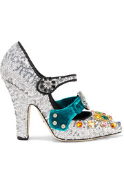 Dolce & Gabbana Embellished velvet-trimmed sequined Mary Jane pumps