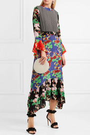 Chrissy patchwork printed silk midi dress