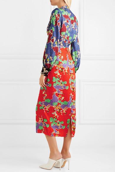 6bd15316b4e RIXO | Fedora printed silk-jacquard midi dress | NET-A-PORTER.COM