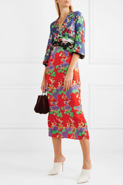 Fedora printed silk-jacquard midi dress