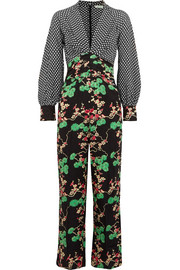 Leah printed silk and silk-jacquard jumpsuit