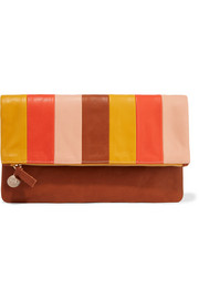 Clare V. Striped leather clutch