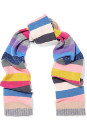Metallic striped cashmere scarf