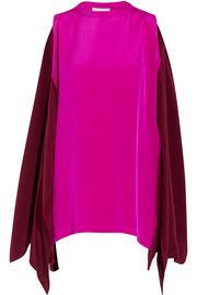 Convertible cold-shoulder silk crepe de chine blouse