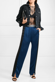 Paneled satin track pants