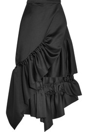 Ruffled asymmetric satin wrap skirt