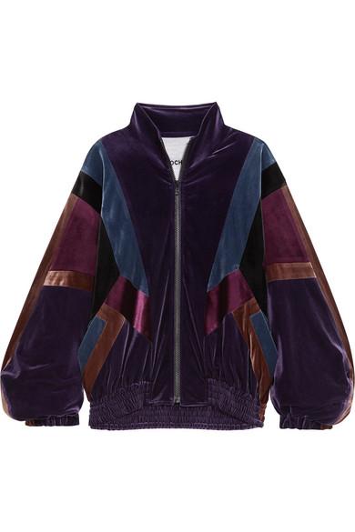Koché - Oversized Paneled Velvet Jacket - Dark purple
