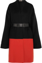 Bottega Veneta Belted two-tone cashmere coat