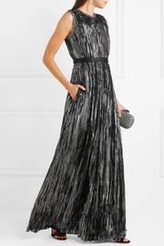 Bottega Veneta Belted studded silk-blend Lurex gown