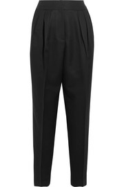 Bottega Veneta Pleated wool and silk-blend straight-leg pants