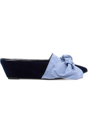 Adrien gingham bow-embellished velvet wedge slippers