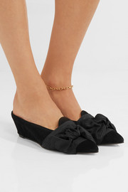 Adrien bow-embellished suede slippers