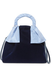 Trademark Hazel gingham-trimmed velvet shoulder bag