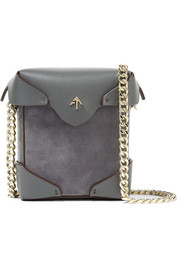 Pristine micro suede and leather shoulder bag