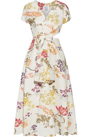 Swept Away cutout floral-print cotton-blend faille midi dress