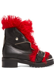 Shearling-trimmed leather ankle boots