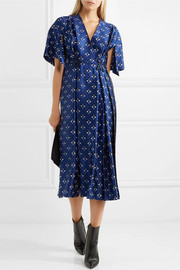 Fendi Embellished printed silk wrap-effect dress