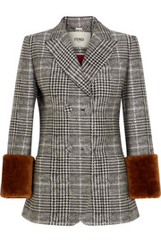 Fendi Shearling-trimmed Prince of Wales checked wool and silk-blend blazer